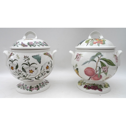 195 - A Portmeirion double handled soup tureen in the Botanic Garden pattern on pedestal base with cover t...