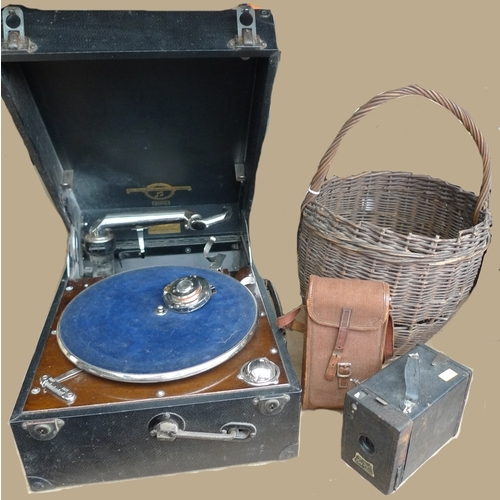 179 - A Columbia Granfola turn table player, together with two vintage cameras and a wicker basket....