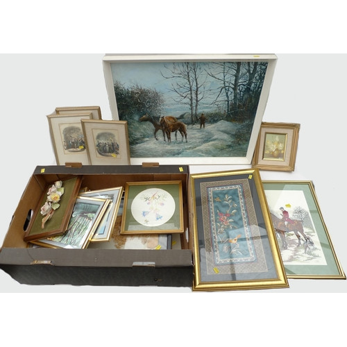 180 - A collection of modern pictures, embroideries and prints, including I. J. Hocking 'Winter Scene, Lla...