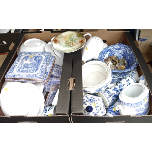 181 - A collection of mixed blue and white china, including a pair of Chinese sleeve vases, a Chinese ging...