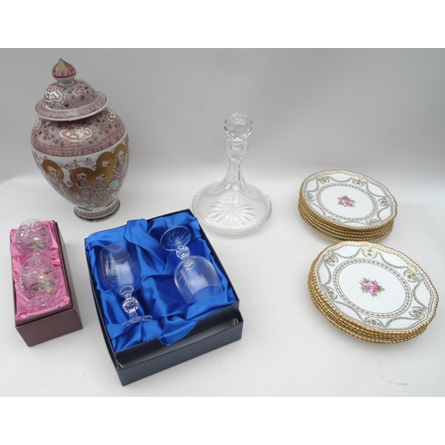 182 - A collection of items including a cut glass ship's decanter, a set of eleven plates by T.Goode, Cope...