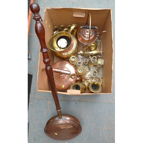 183 - A collection of copper and brass, including a kettle and spirit burner stand, bowls, tray, ornaments...