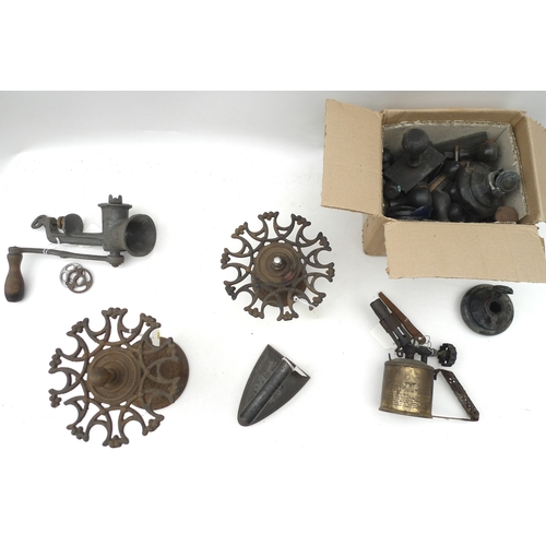 184 - A selection of metalware including two rubber stamp stands, complete with a large collection of stam...