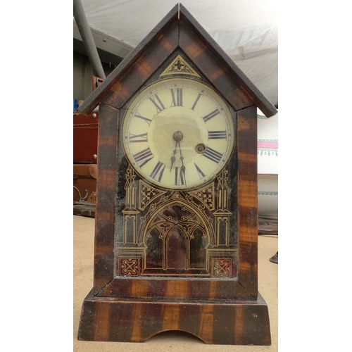 233 - Two mantel clocks, comprising one by Uhrenfabrik Tentonia, Germany, Schutzmarke, with painted dial a...