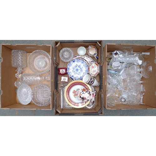 211 - A collection of mostly 20th century glasses, together with various items of Limoges such as two trin...