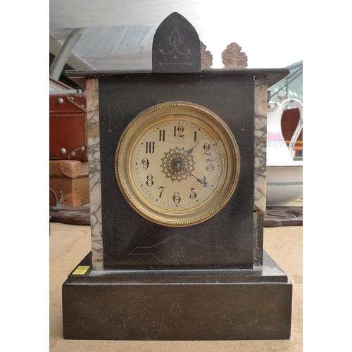 237 - A slate mantel clock, cream dial with Arabic numerals, 29cm high....