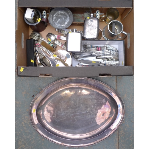 212 - A quantity of silver and silver plated items, including an Edwardian silver backed mirror, brush and...