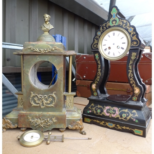 239 - A green hardstone mantel clock case, without movement, brass bust surmount of Byron, 47cm, together ...