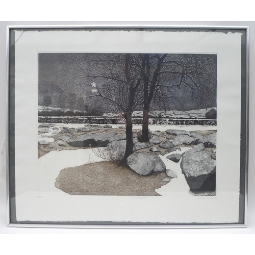 223 - Philip Greenwood - a limited edition etching of 'Snowy Night', signed and titled in pencil to the lo...