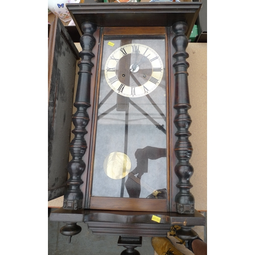226 - A group of three Vienna wall clock cases, without movements, two with eagle surmounts, largest 150cm...