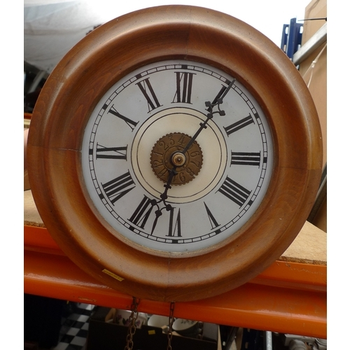 250 - A post office clock with circular dial and case, black Roman numerals, 28cm....