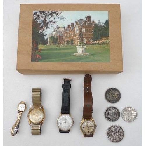 256 - A collection of watches and coins including a vintage gents Printania 17 Rubis Incabloc Incastar wat...