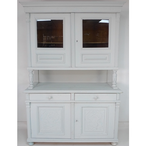 302 - A French white painted oak dresser, with glazed doors enclosing a single shelf above, and two drawer...