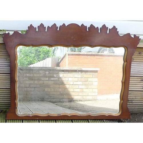 307 - A 19th century fret work framed over mantle mirror, rectangular glass....
