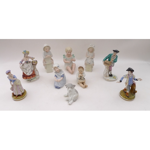 290 - A collection of ceramic figurines including four 19th century Continental porcelain figures, togethe...