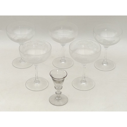 291 - A group of five 20th century champagne glasses decorated with animals, together with an early 19th c...