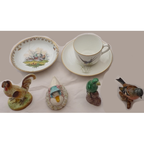 294 - A collection of bird themed ceramics, including a reproduction miniature Tang style parrot figure, a...