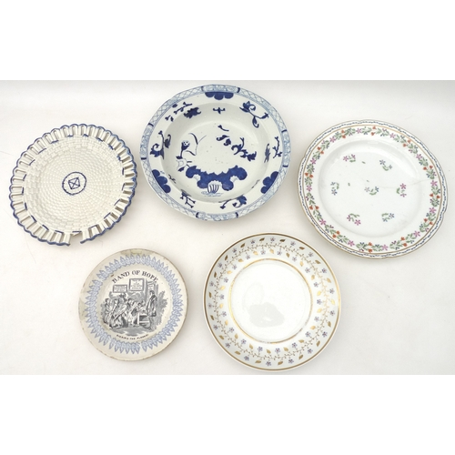 295 - A group of 19th century ceramics including a Spode double handled dish, a Flight Barr and Barr plate...