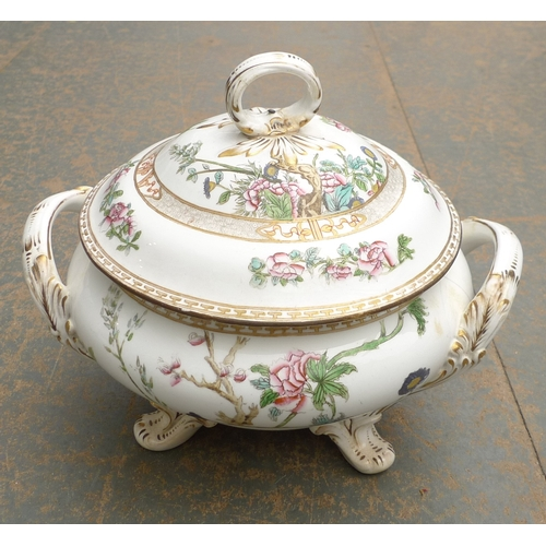 296 - An early 19th century porcelain twin handled tureen and cover, of squat circular form, printed and o...