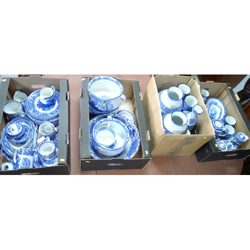 345 - A large collection of Abbey Ware blue and white china, including tea pots, vases, bowls, plates, cha...