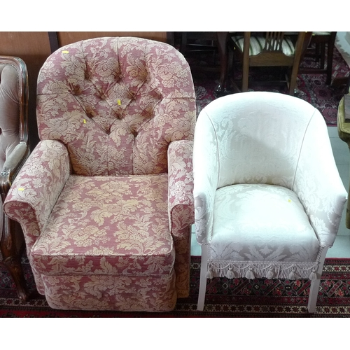 354 - A pink floral upholstered armchair and a cream and wicker upholstered armchair. (2)...
