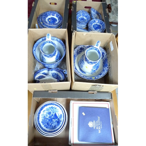 313 - A large collection of Abbey Ware blue and white china, including cups, plates, bowls, wash jugs and ...