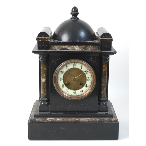359 - A slate mantel clock, inlaid with marble, twin train movement, 25 by 17 by 36cm high....