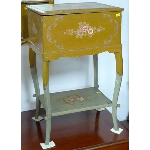 319 - A group of furniture, comprising a small painted cabinet with lift lid on shaped legs, a small oak s...