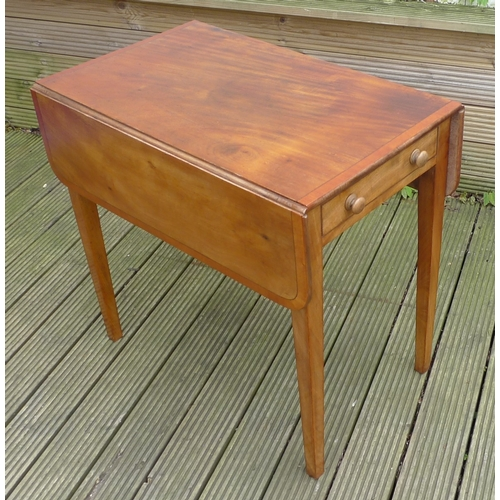 360 - A mahogany Pembroke table, with crossbanded edge and ebony stringing, single drawer raised on square...
