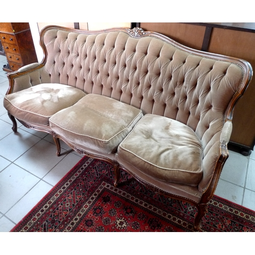 361 - A reproduction Victorian sofa, with brown velvet upholstered seat and back, circa 1970's....