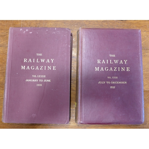 365 - The Railway Magazines Illustrated, bound in two volumes from 1937 and 1938, together with the magazi...