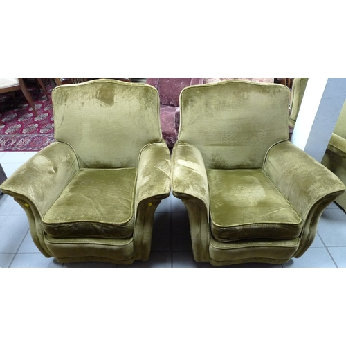 328 - A Bridge-Craft three piece suite, circa 1960, of curved form with shaped backs, upholstered in dark ...