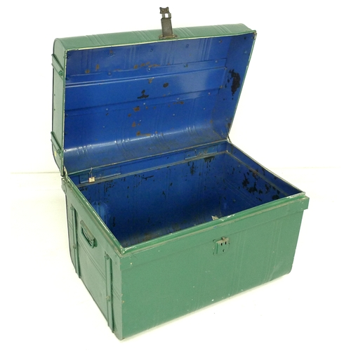 333 - A Victorian metal trunk, green painted exterior, with brass lock stamped 'Thomasson's Patent No 1666...