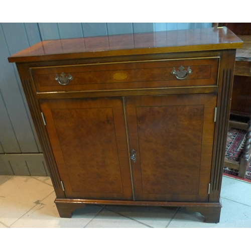 336 - A reproduction corner cabinet, octagonal occasional table, cupboard and demi-lune table. (4)...