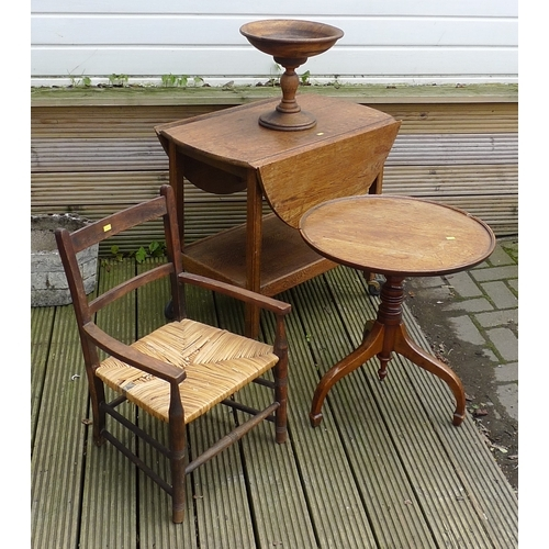 337 - A group of furniture comprising a child's chair with rush seat, an oak hostess trolley with circular...