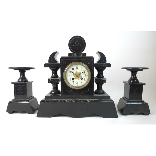 369 - A slate mantel clock garniture, inlaid with green marble and gilt engraved decoration, cream dial wi...