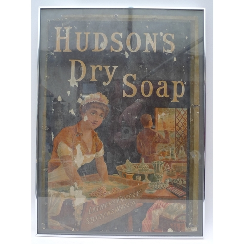387 - An original Hudson Soap advertising poster, depicting a young maid washing clothes, behind her a but...