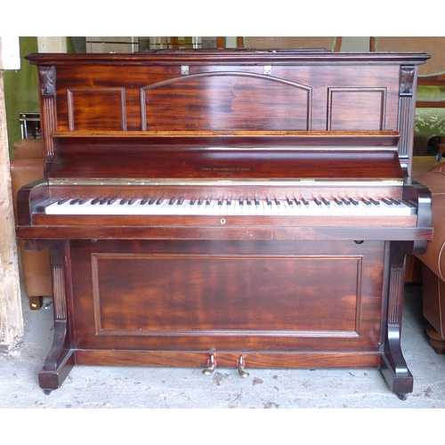 425 - An Edwardian mahogany upright piano, by John Brinsmead & Sons, London, stamped to case 'Falcott' and...