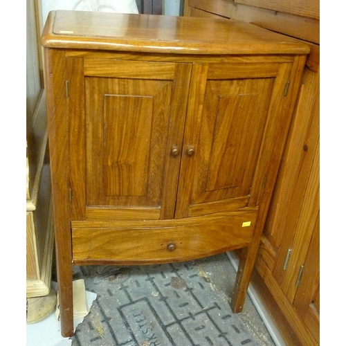 407 - A mid 20th century mahogany sewing cabinet, with lift lid revealing a compartment, twin doors to the...