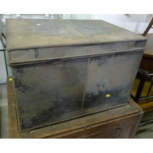 452 - A vintage wooden tea chest, stamped 'Arthur Berton Ltd, Britannia House, Old Street, EC2', a'f damag...