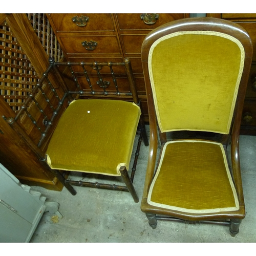 456 - Two Victorian chairs, one a corner chair, the other a nursing chair, both upholstered in matching  m...