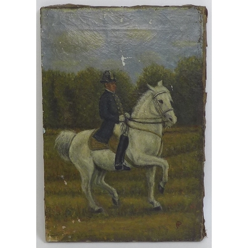 36 - A 19th century oil on canvas depicting a member of the Spanish Riding School of Vienna performing a ...