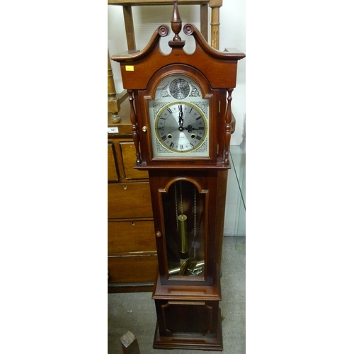 466 - A modern Granddaughter clock, by RR, in Georgian style, with silvered dial 'Tempus Fugit' in globe t...