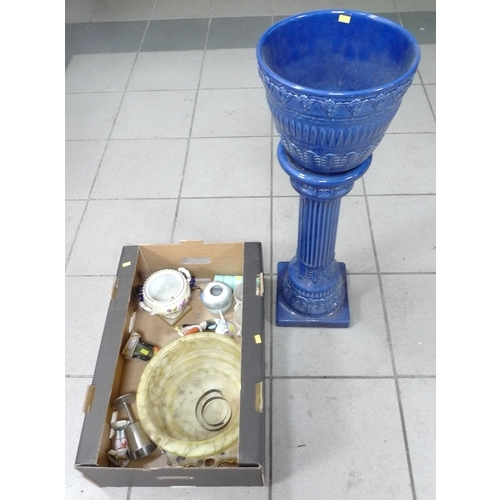 147 - A West German blue glazed jardiniere and stand, together with further ceramics, including four Poole...