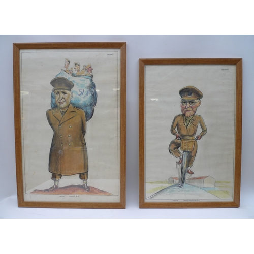 213 - A pair of pastel caricature portraits of military men, one titled 'Major Farquharson R.E.', the othe...
