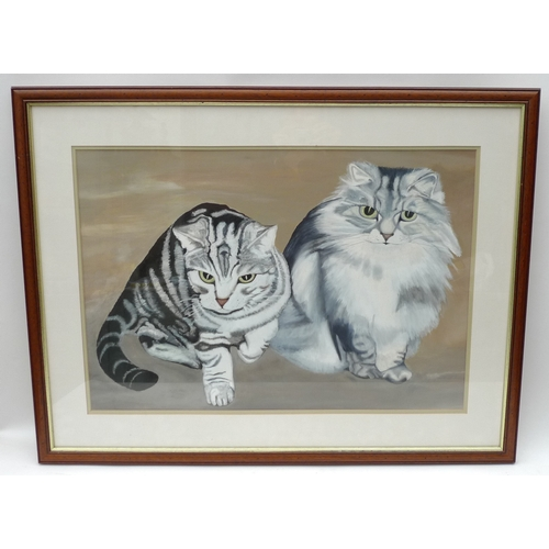 214 - A painting of two grey cats, one a Persian, the other a silver tabby, unsigned, framed....