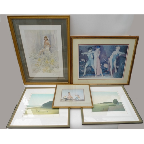 254 - A collection of mostly limited edition prints including two golfing prints after J Garrington, one t...