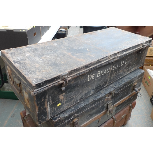 483 - A group of three vintage trunks, one strong trunk marked FAHS, one a school trunk marked Haslam, and...