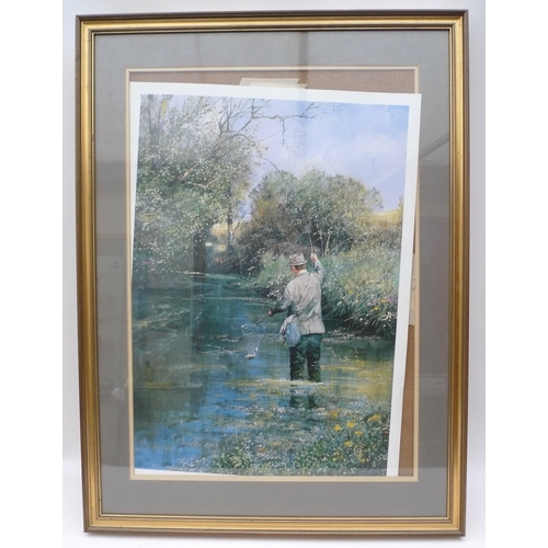45 - Clive Madgwick (1934 - 2005) - Bringing to Net a Fine Trout, limited edition print 136 of 500, publi...