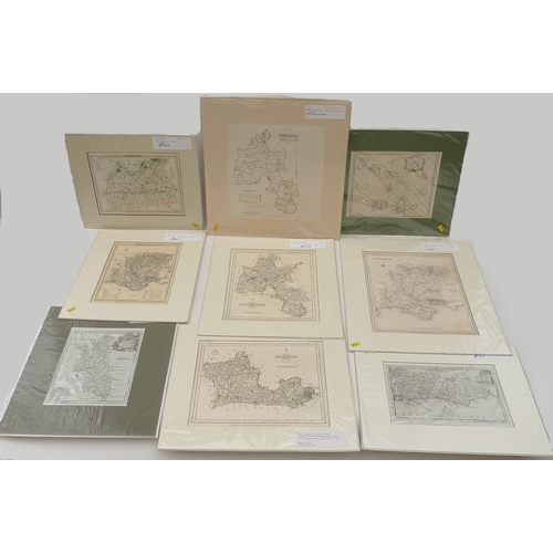 80 - A group of nine map prints, including the Cape Verde Islands drawn from that of Captain Roberts, scu...